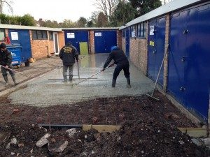 Perfect Ponds and Landscape staff resurfacing with concrete
